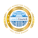 Sparkroom Gold 2017 LeadsCouncil LEADER Award - Best Marketing Agency Education